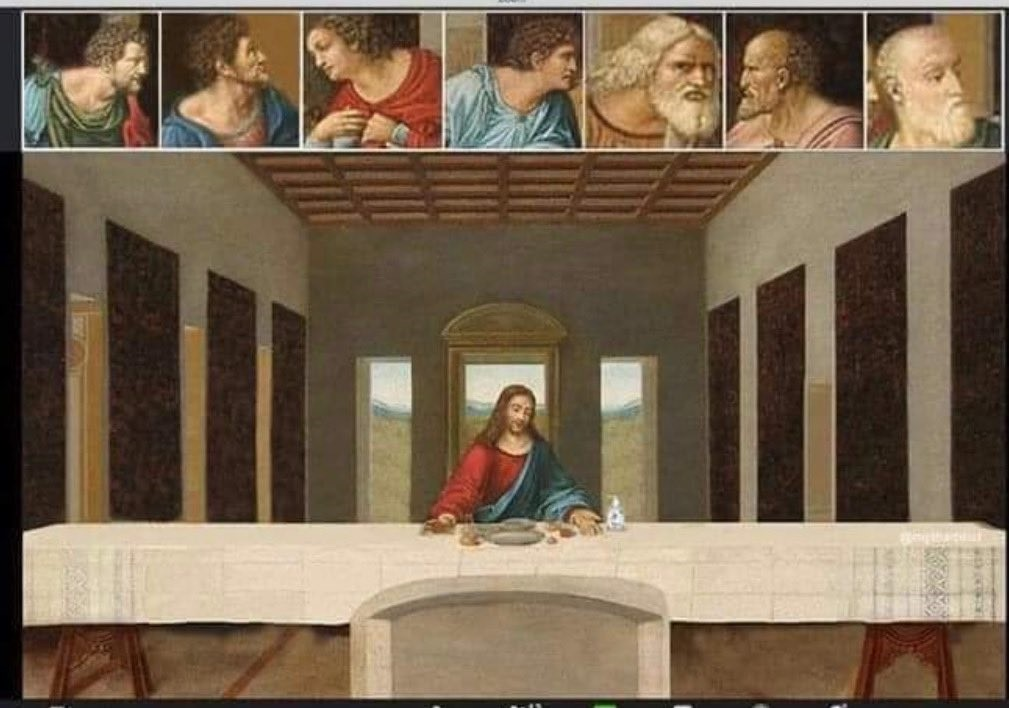 An image of the Last Supper. Jesus is alone at the table; the disciples' faces are visible in small boxes at the top of the image because they're in a Zoom call together.