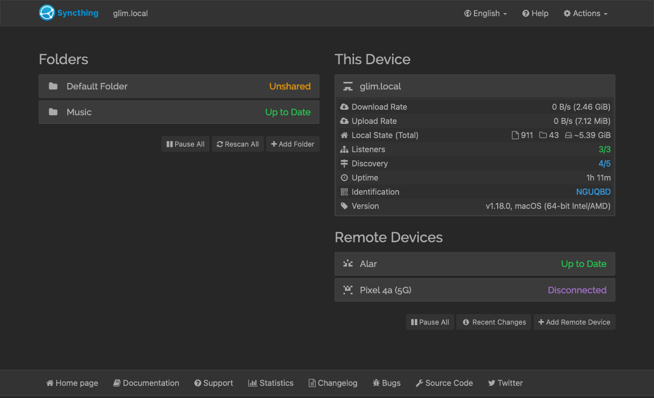 Screenshot of Syncthing