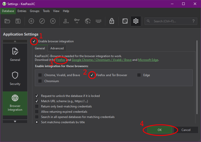 KeePassXC browser integration window