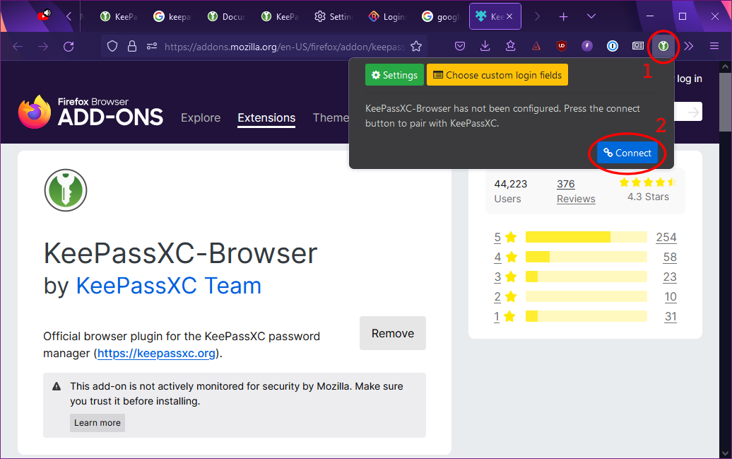 Connecting the KeePassXC browser extension