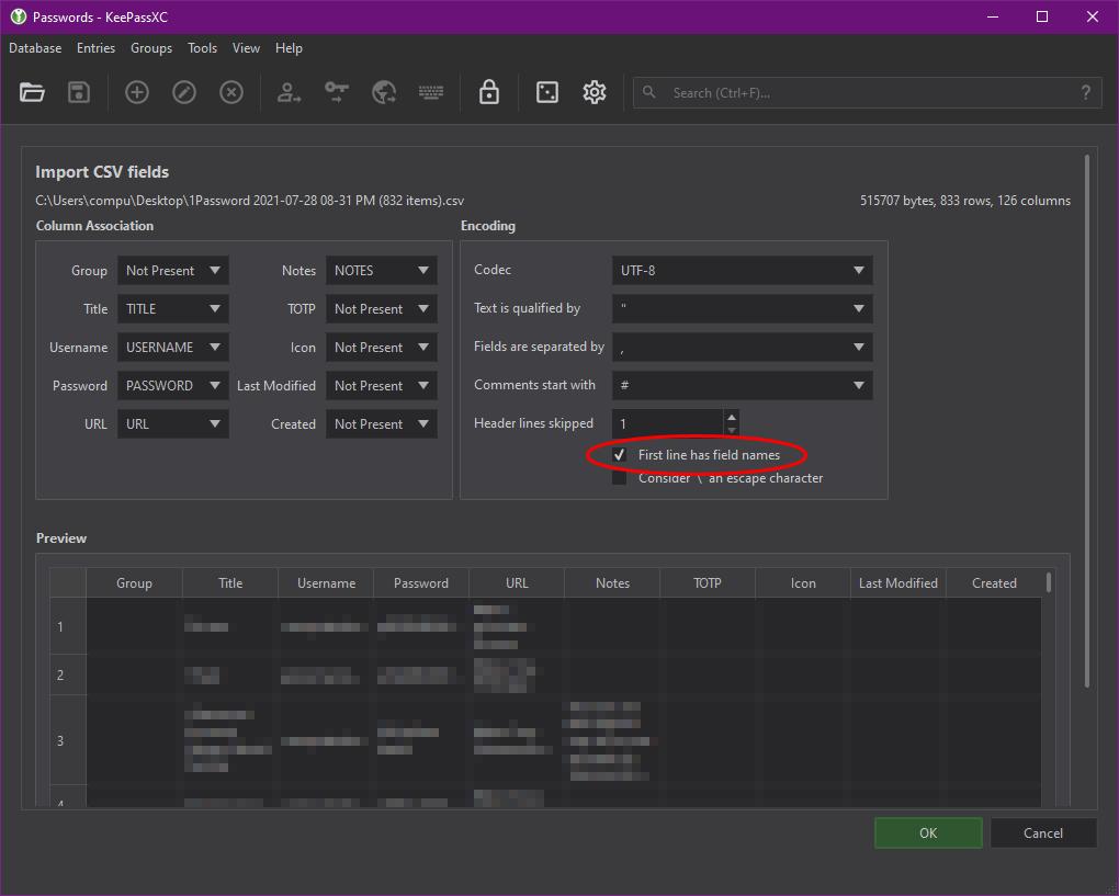 KeePassXC's Import CSV Fields screen